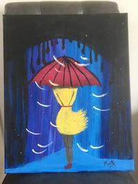 Original oil painting Girl and Umbrella 科奎特兰