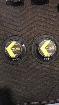 black-and-gray Kicker subwoofers