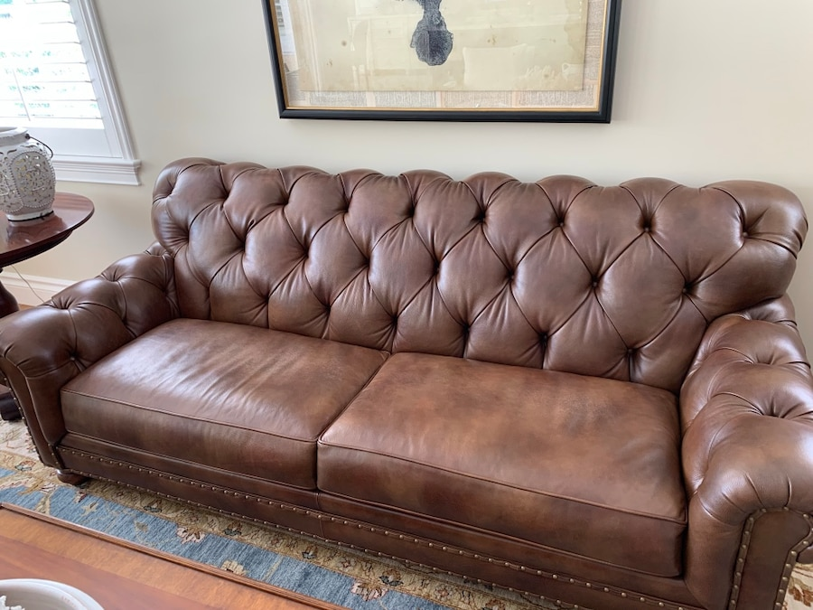 used ethan allen tufted brown leather 2 seat sofa for sale in rh tr letgo com