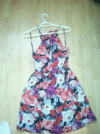 pink  floral sleeveless dress xs