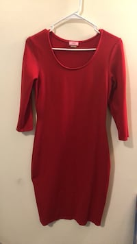 red scoop-neck long-sleeved dress Orange, 07050