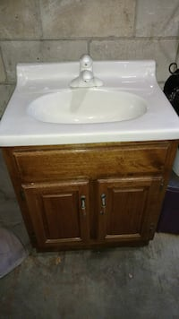 white and brown vanity top
