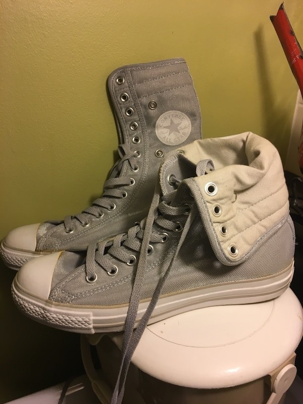 0f07ad72bce Used Converse high top brand new silver grey shiny women s size 9 for sale  in Grimsby - letgo