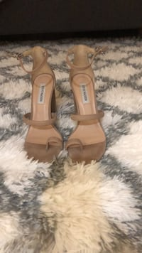 pair of brown leather open toe ankle strap heels Los Angeles, 91411
