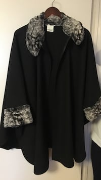 Black and gray mantle coat