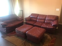 Burgundy Italian Leather Sofa, Love Seat, 2 ottomans, and rug!!