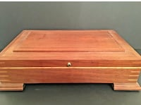 "Signed Wooden Box Jewelry Removable Trays Footed Gorgeous Woodcraft   16.5""l x 5""h x 10""w  great condition, no scratches or flaws Schnecksville, 18078"