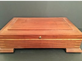 Signed Wooden Box Jewelry Removable Trays Footed Gorgeous Woodcraft