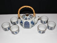 Vintage Otagiri Japan 8 Pc. Bamboo Handle Four Seasons Pattern Teapot w/ 6 Cups Lewisville