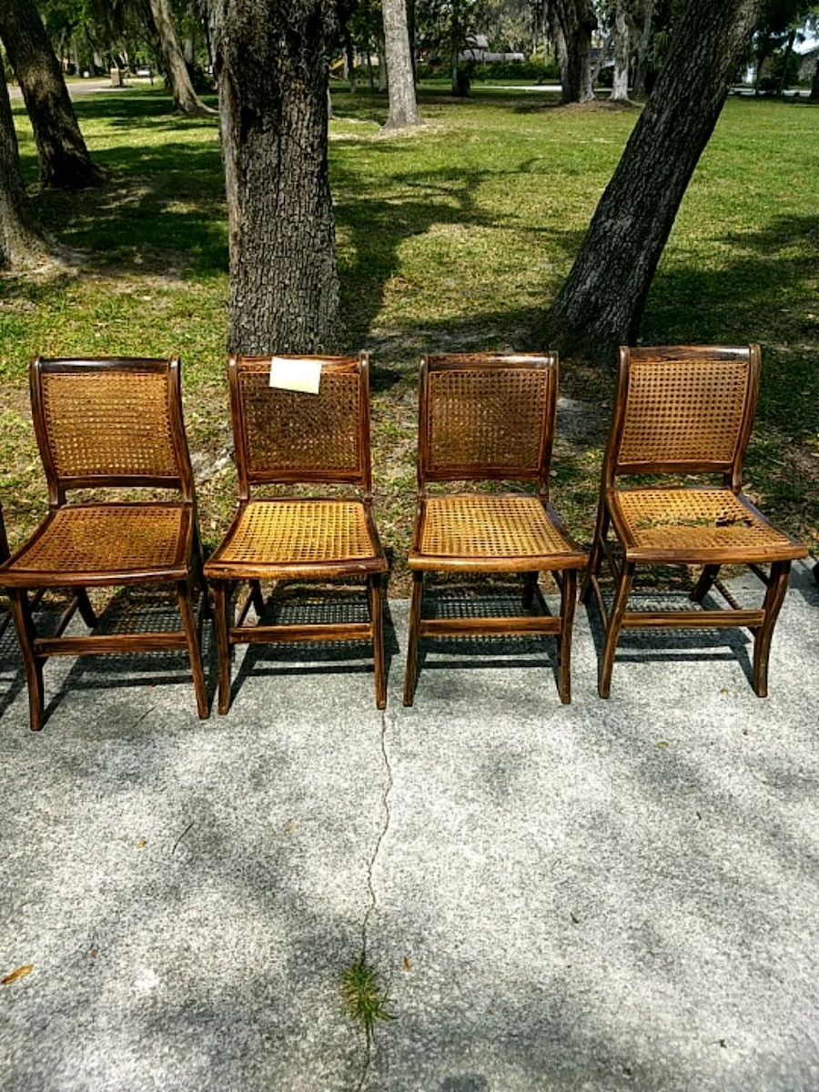 Antique Cane Chairs (one Needs Repair)