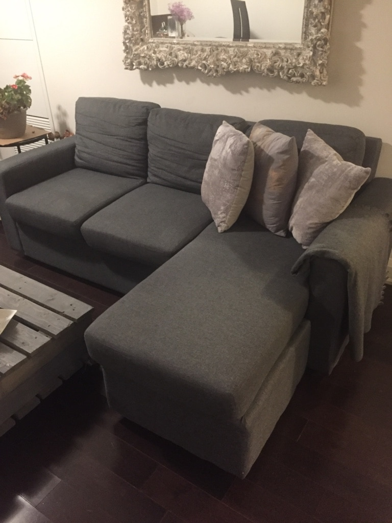 used dark grey sectional sofa just few month old moving and must rh gb letgo com