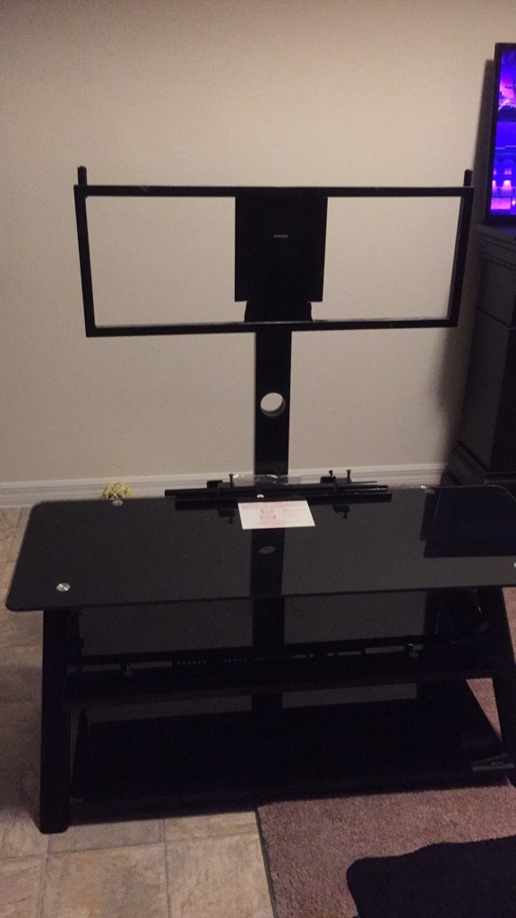 used black glass tv stand perfect condition 50 00 for sale in rh gb letgo com