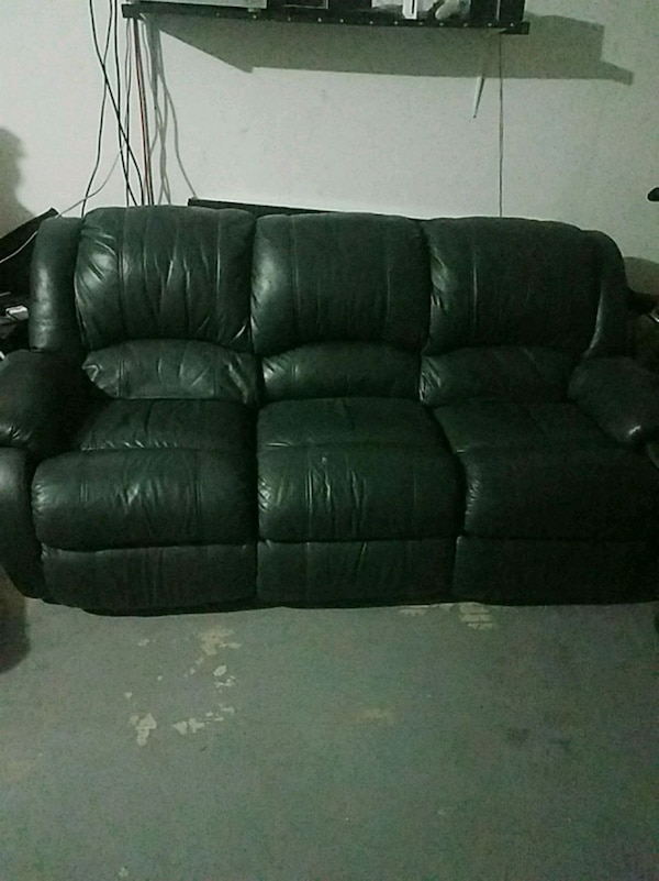 Dark Green Double Reclining Leather Couch