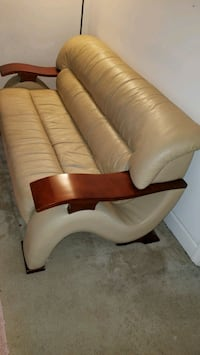 STILL AVAILABLE: Tan leather 3-seat sofa Alexandria, 22312