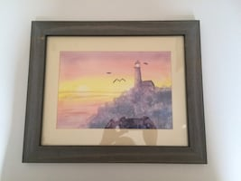 Framed lighthouse watercolor painting
