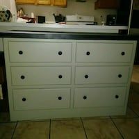 white wooden 6-drawer lowboy dresser Las Vegas, 89104