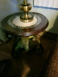 round brown wooden framed glass top coffee table Salem, 01970