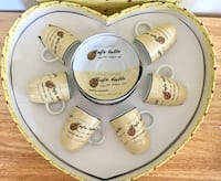 Espresso Cup & saucer set for 6 in heart shaped box Palos Hills, 60465