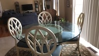 round white wooden table with four chairs dining set Seaford, 19973