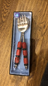 stainless steel-and-brown spoon and fork with box Toronto, M3H 4K7