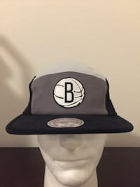 Mitchell Ness Brooklyn Nets Adjustable Hat Black, Gray, and White NBA NWT Goodyear, 85395