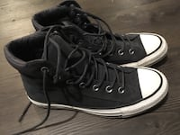 Gray converse all star high-top sneakers, leather, like new Central Okanagan, V1X