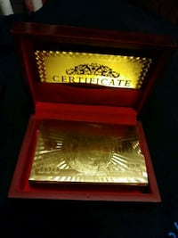 .999 GOLD FOIL PLAYING CARDS IN MAHOGANY CASE
