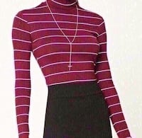 New forever 21 burgundy striped long sleeve turtle neck size small. Colton, 92324