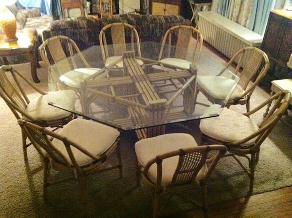 octagon glass top dining table