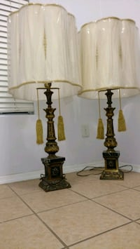 two brown wooden base table lamps Bremerton, 98311