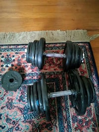 Two Adjustable Dumbbells with 105lbs