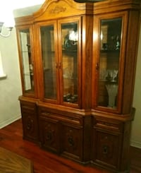 brown wooden framed glass china cabinet Markham, L6E 1B9