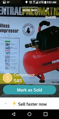 red and black Central Pneumatic air compressor screenshot