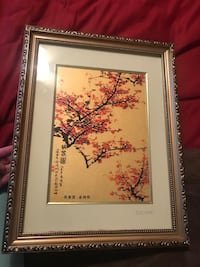 Green and pink flower painting with brown wooden frame Columbia, 29223