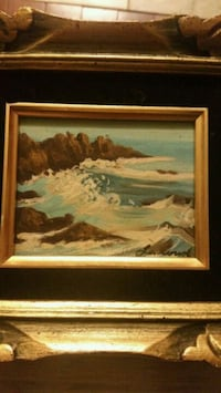 tidal wave painting with brown wooden frame Toronto, M3L 1L8