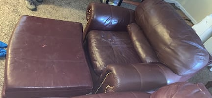 Leather couch w/ love seat and leg rest