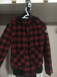 black and red checkered zip-up jacket