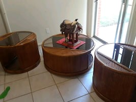 Rattan tables set of 3