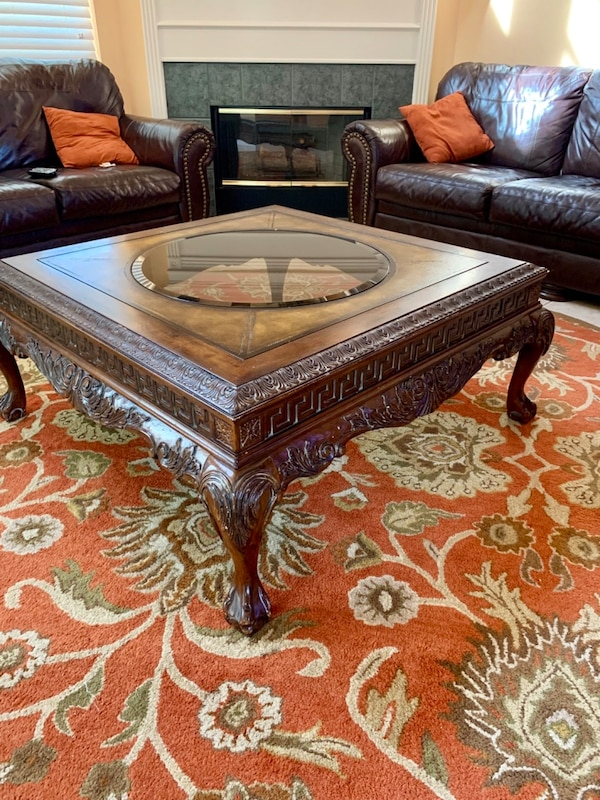 Vintage heavy duty Wooden living room furniture - coffee table with 2 side  tables