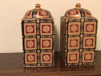 Ceramic Square Ginger Jars Silver Spring