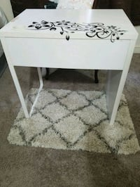 White table with drawer (flowers peel off) and sma