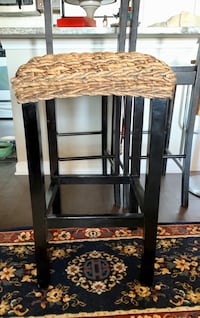 Solid wood rattan bar stool