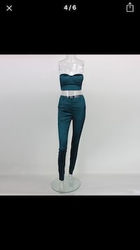 women's green 2 piece pants set
