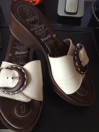 Brown and white leather sandals