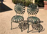 Pair Of Vintage Green Painted Metal Garden Chairs Floral Motif Temescal, 92883