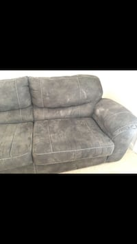 gray leather 2-seat sofa