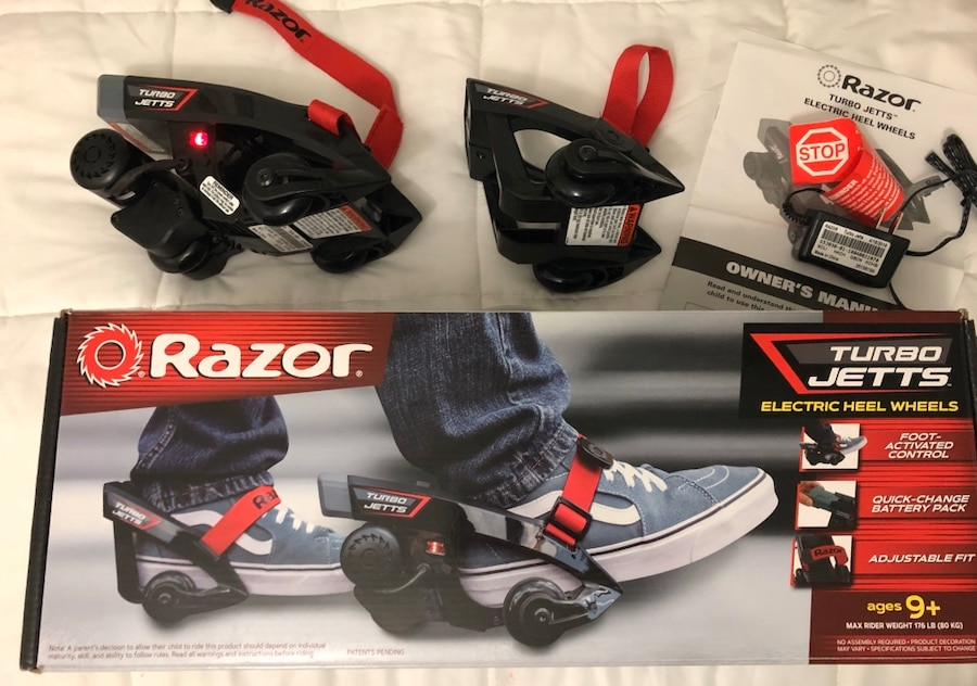 Photo Razor Turbo Jetts Electric Heel Wheels/Red Lighted Wheels (Used Once)