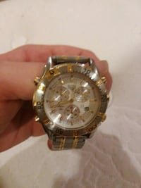 round gold chronograph watch with link bracelet Frederick, 21703