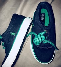Pair of black-and-green ralph lauren polo sneakers