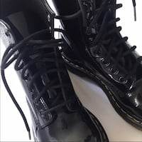 pair of black leather lace-up boots Columbus, 43068